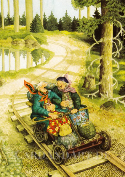 Inge Löök: Ausflug mit der Draisine - Postkarte Nr. 56