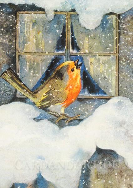 Mili Weber: Rotkehlchen im Schnee - Postkarte
