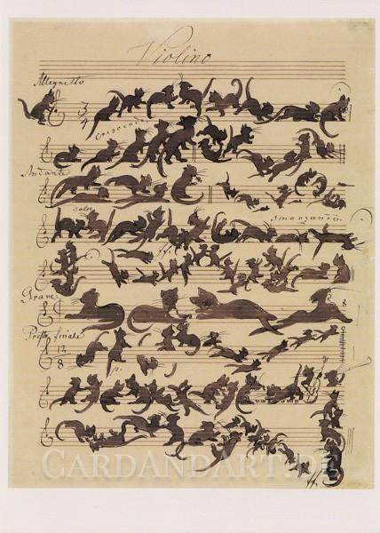 Moritz von Schwind: Black Cat - Postkarte