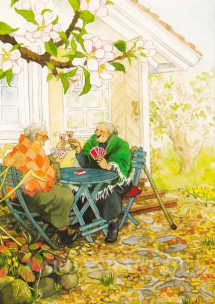 Inge Löök: Kartenspielen im Garten - Postkarte Nr. 4