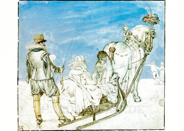 Avercamp: Schlitten auf dem Eis - Postkarte