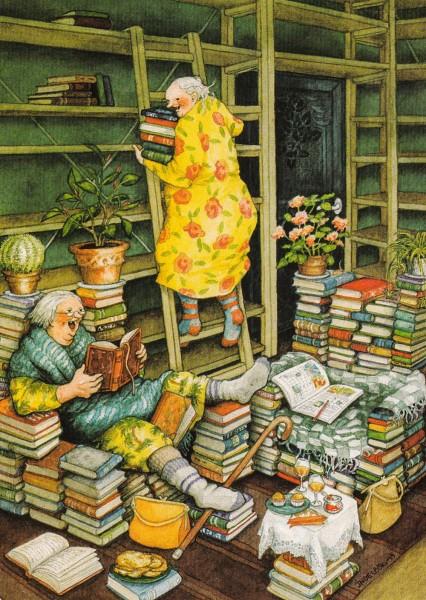 Inge Löök: Bücherparty - Postkarte Nr. 66