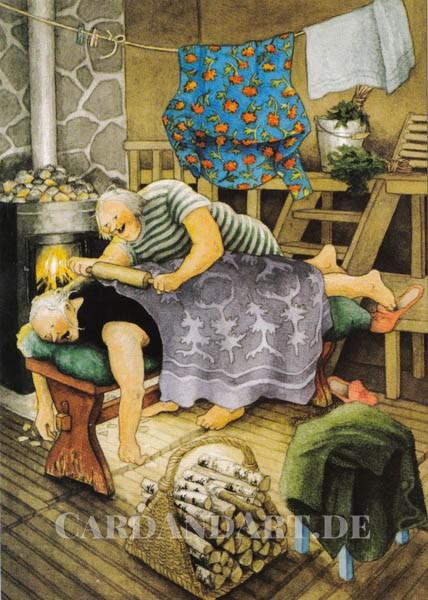 Inge Löök: Finnische Massage - Postkarte Nr. 69