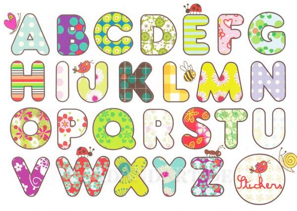Alphabet - Postkarte mit Stickern