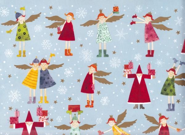 Weihnachtsengel und Nikolaus - Geschenkpapier