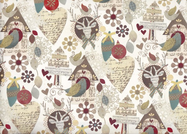 Bird House - Geschenkpapier Weihnachten mit goldfarbenen Akzenten
