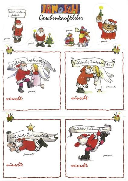 Janosch Sticker - Geschenkaufkleber Weihnachten - Postkarte