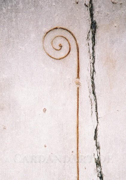 Relief eines Bischofsstabes - Postkarte