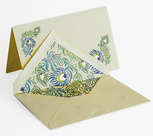 Pfauenfedern - Italienische Briefkarten mit Kuvert in Box