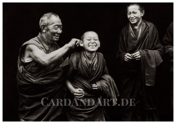 Mönche in Tibet - Postkarte