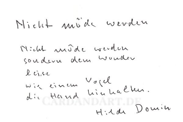 Domin Hilde: Nicht müde werden ... - Postkarte