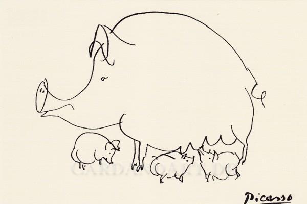 Picasso: Sow (Sau mit drei Ferkeln) - Postkarte