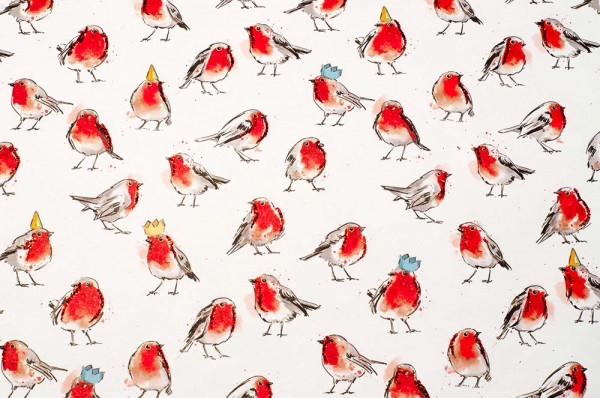 Robins - Geschenkpapier mit Glitzereffekten