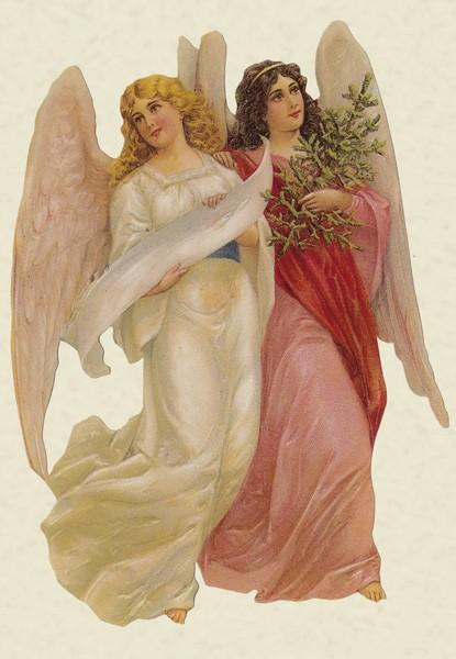 Zwei Engel - Klappkarte mit extra Pop-Up Karte und Kuvert
