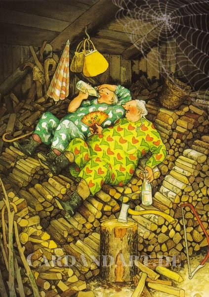 Inge Löök: Kleines Päuschen beim Holzhacken - Postkarte Nr. 72