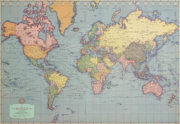 Weltkarte - Vintage Poster