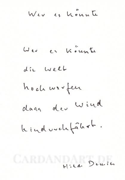 Domin Hilde: Wer es könnte die Welt hochwerfen... - Postkarte