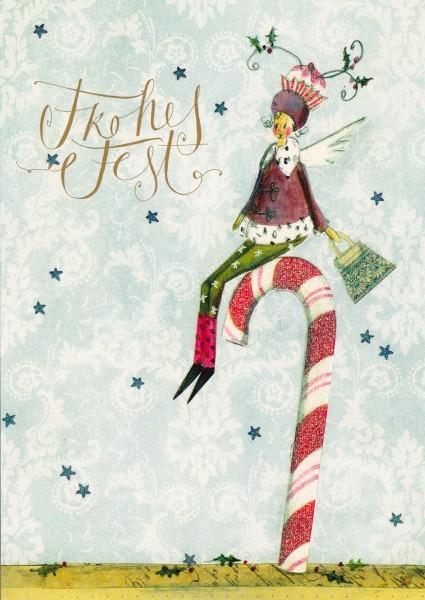 Frohes Fest - Postkarte mit Glitter v. Silke Leffler