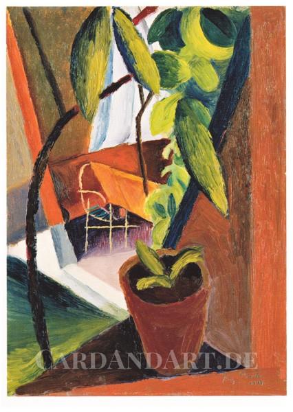 Macke August: Blick ins Gartenhaus - Postkarte