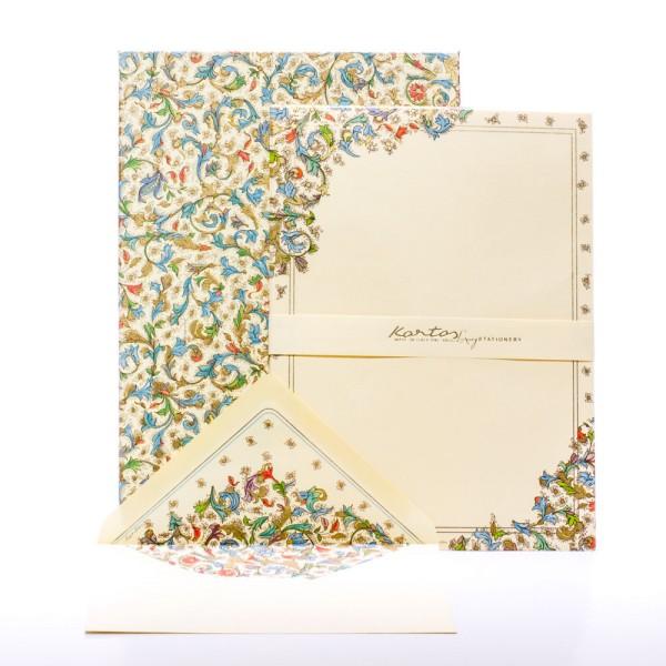"""Italienisches Briefpapier """" Medicea """" mit goldfarbenem Druck"""