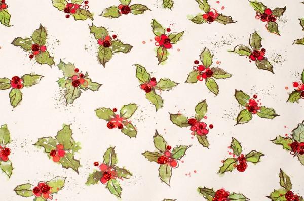 Holly - Geschenkpapier mit Glitzereffekten