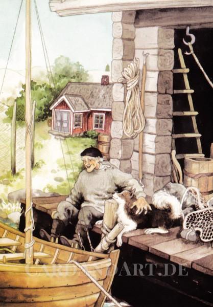 Inge Löök: Fischer mit seinem Hund - Postkarte Nr. 111