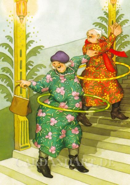 Inge Löök: Perfekter Hüftschwung mit Hula-Hoop - Postkarte Nr.47