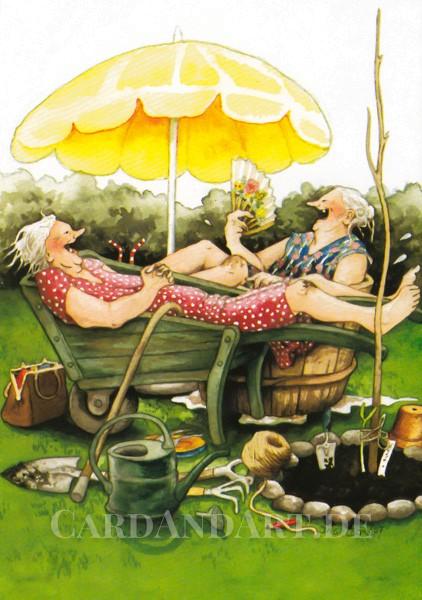 Inge Löök: Nach der Gartenarbeit - Postkarte Nr. 20