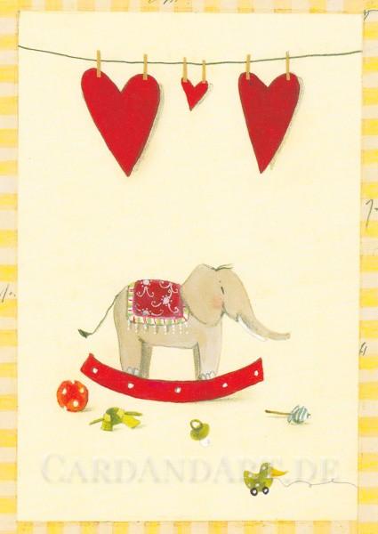 Schaukelelefant - Postkarte Silke Leffler