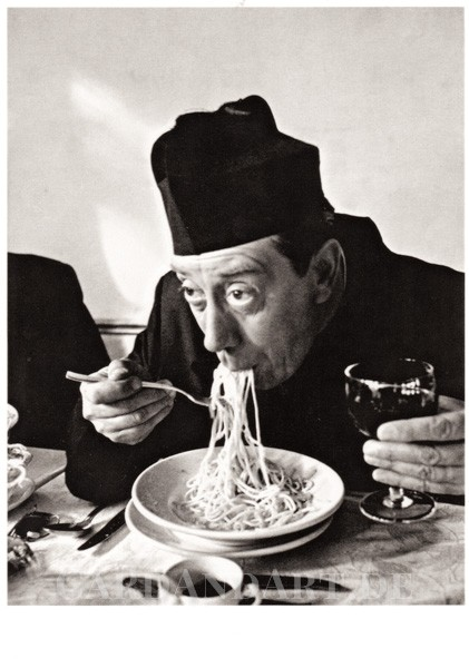 Don Camillo isst Spaghetti - Postkarte