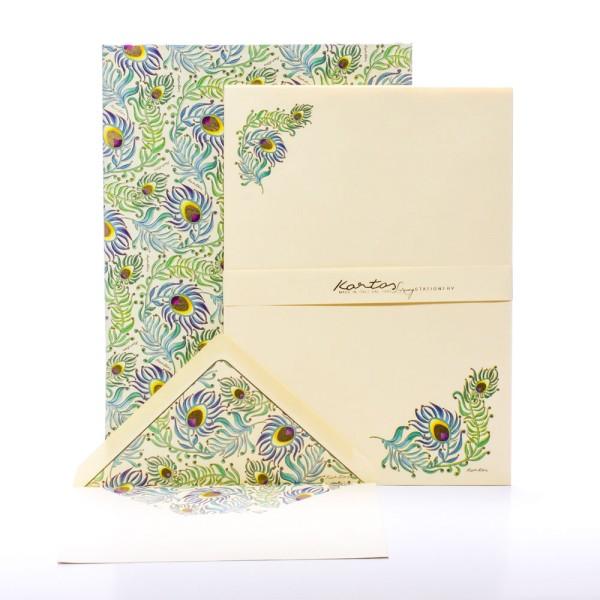 """Italienisches Briefpapier """" Peacock """" mit goldfarbenem Druck"""