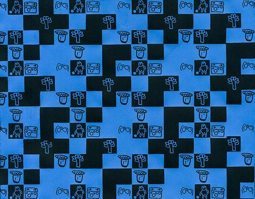 Memory blau - schwarz Geschenkpapier