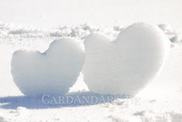 Schneeherzenpaar - Postkarte