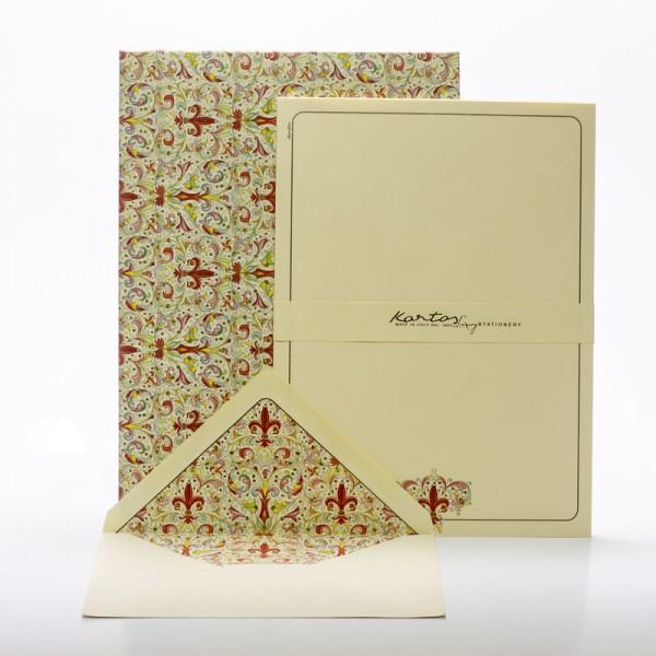 """Italienisches Briefpapier """" Giglio """" mit goldfarbenem Druck"""