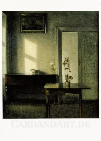 Hammershoi Vilhelm - Interieur mit Topfpflanze auf einem Spieltisch - Postkarte