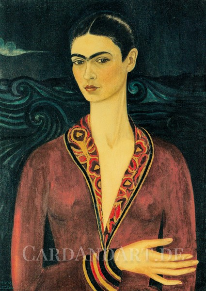 Kahlo, Frida: Selbstporträt mit Samtkleid - Postkarte