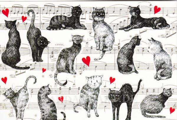 Katzen - Postkarte mit Stickern