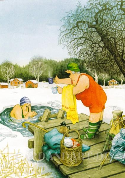 Inge Löök: Eisiges Badevergnügen - Postkarte Nr. 55