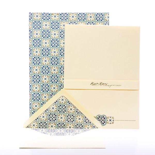 "Italienisches Briefpapier "" Quadrilobo "" mit goldfarbenem Druck"