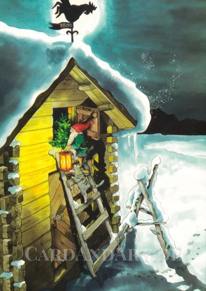 Inge Löök: Wichtel holt den Weihnachtsbaum - Postkarte Nr. 221