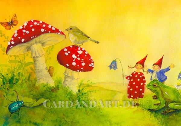 Pippa und Pelle mit Fliegenpilzen - Postkarte