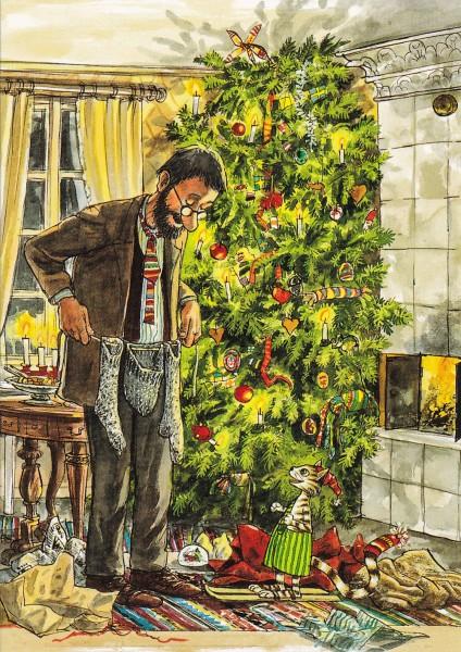 Nordqvist, Sven: Weihnachtsbescherung mit Findus - Postkarte